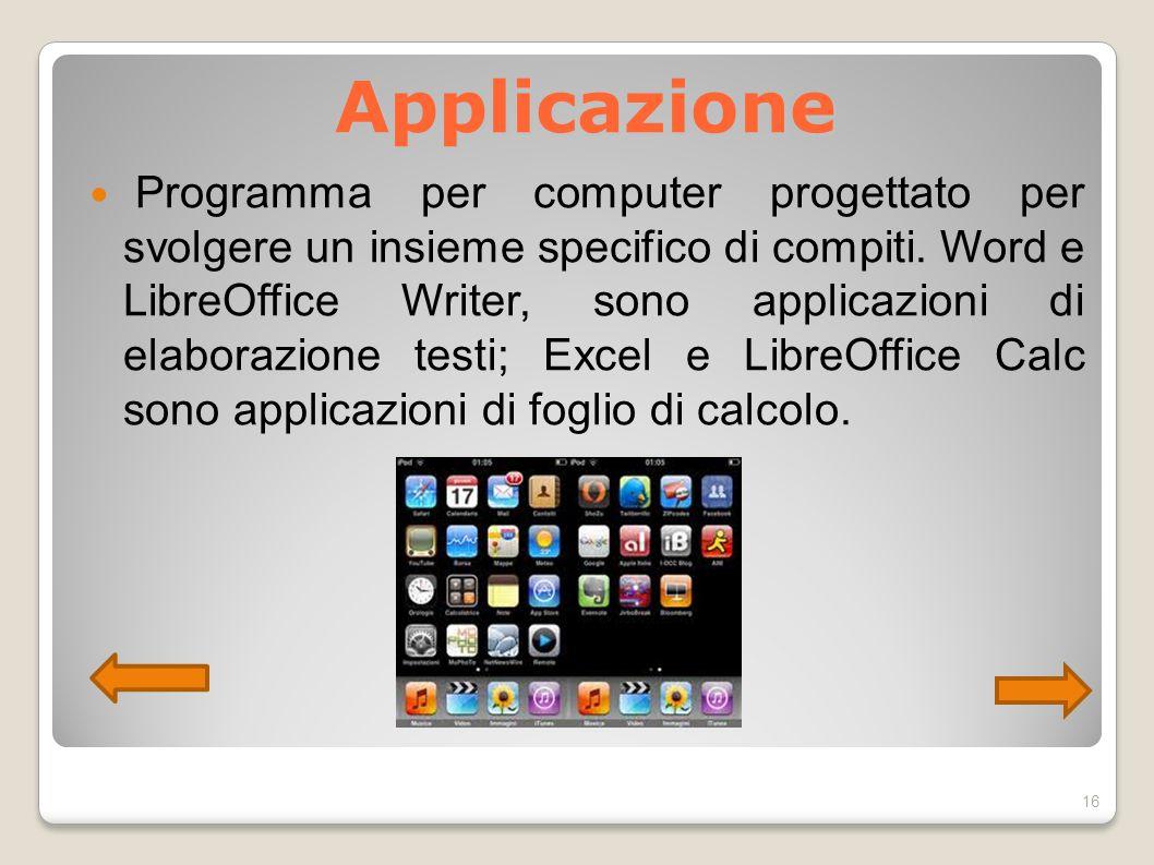 Applicazione Programma per computer progettato per svolgere un insieme specifico di compiti. Word e LibreOffice Writer, sono applicazioni di elaborazi