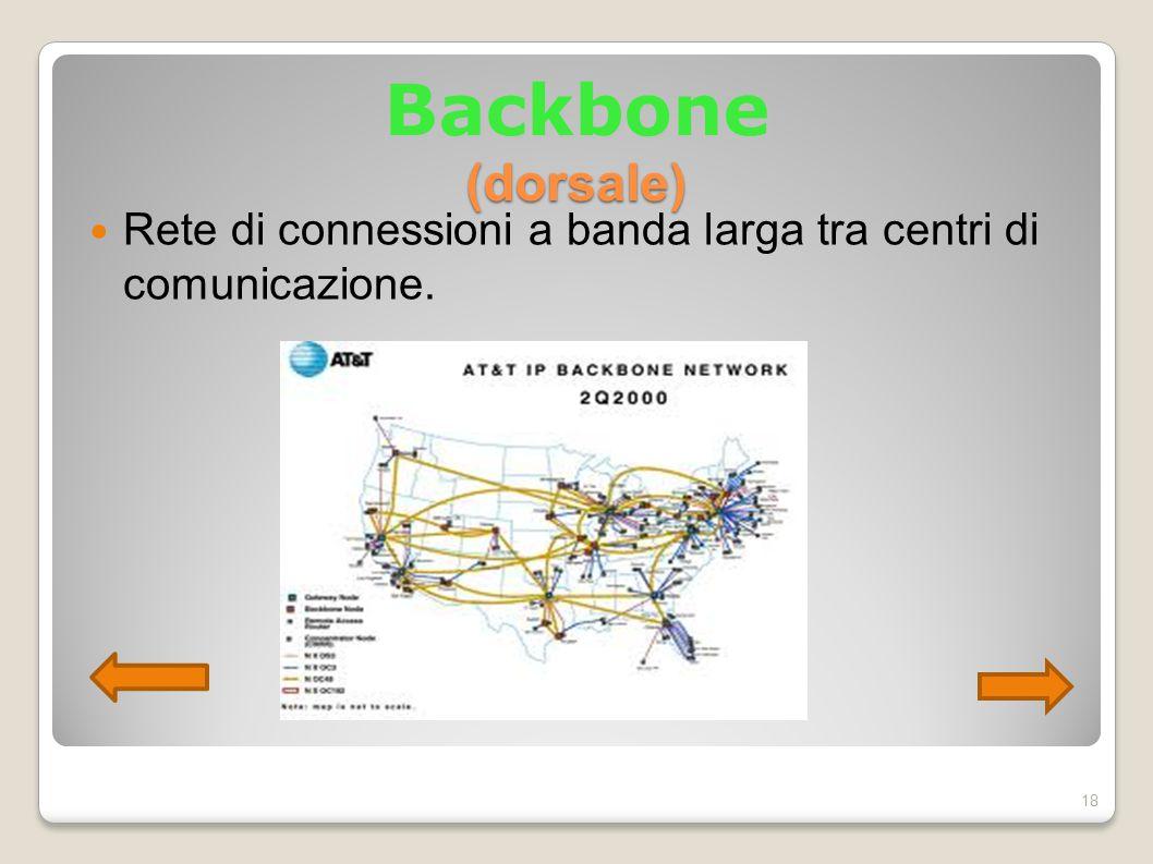 Backbone (dorsale) Rete di connessioni a banda larga tra centri di comunicazione. 18