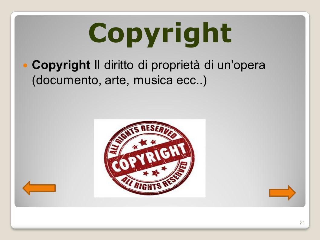 Copyright Copyright Il diritto di proprietà di un'opera (documento, arte, musica ecc..) 21