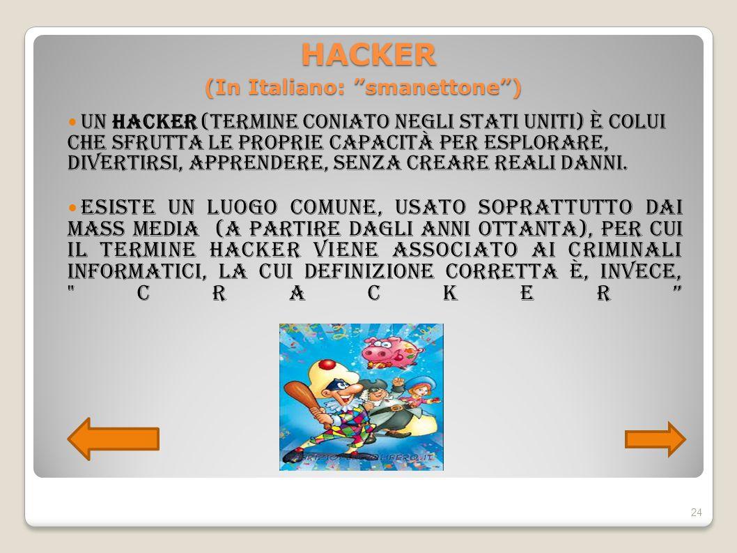 """HACKER (In Italiano: """"smanettone"""") HACKER (In Italiano: """"smanettone"""") Un hacker (termine coniato negli Stati Uniti) è colui che sfrutta le proprie cap"""