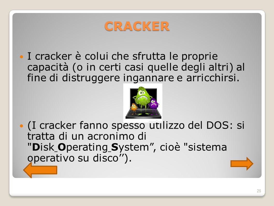 CRACKER I cracker è colui che sfrutta le proprie capacità (o in certi casi quelle degli altri) al fine di distruggere ingannare e arricchirsi. (I crac