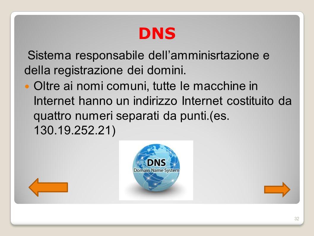 DNS Sistema responsabile dell'amminisrtazione e della registrazione dei domini. Oltre ai nomi comuni, tutte le macchine in Internet hanno un indirizzo