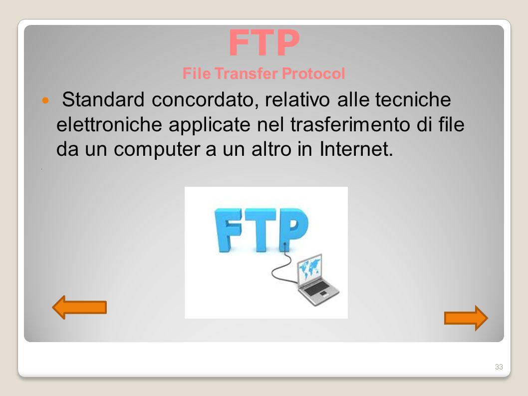 FTP File Transfer Protocol Standard concordato, relativo alle tecniche elettroniche applicate nel trasferimento di file da un computer a un altro in I