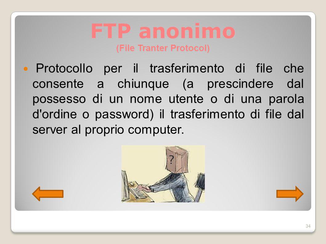 FTP anonimo (File Tranter Protocol) Protocollo per il trasferimento di file che consente a chiunque (a prescindere dal possesso di un nome utente o di
