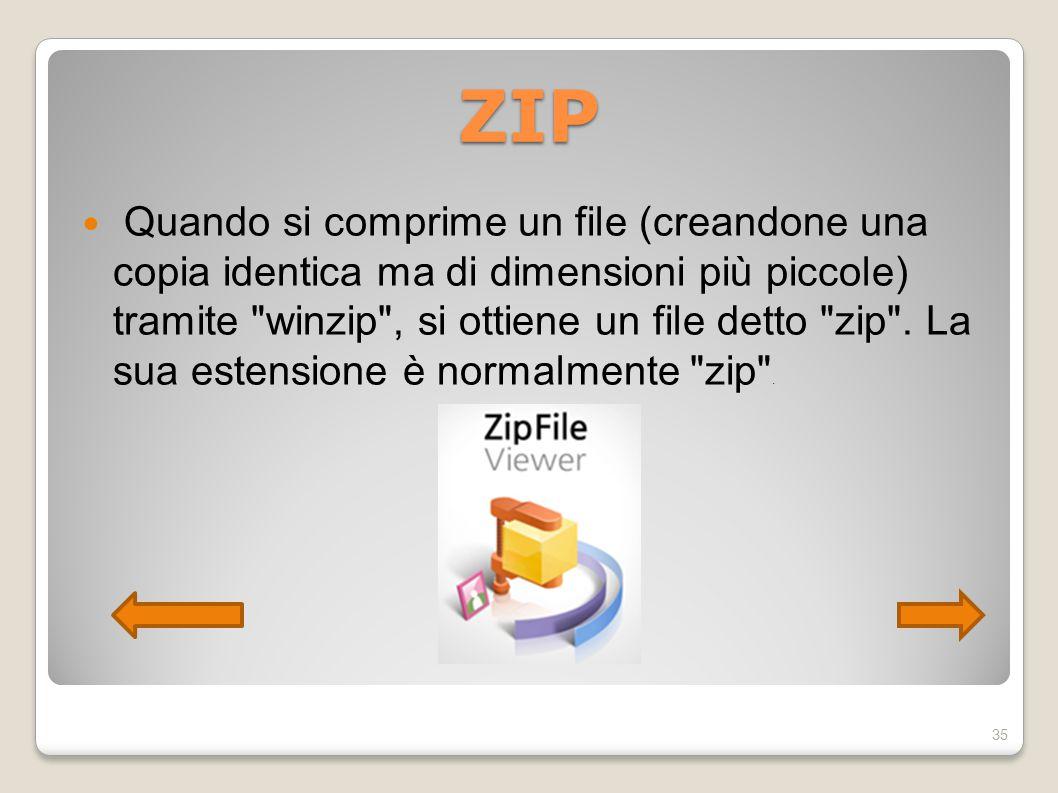 ZIP Quando si comprime un file (creandone una copia identica ma di dimensioni più piccole) tramite