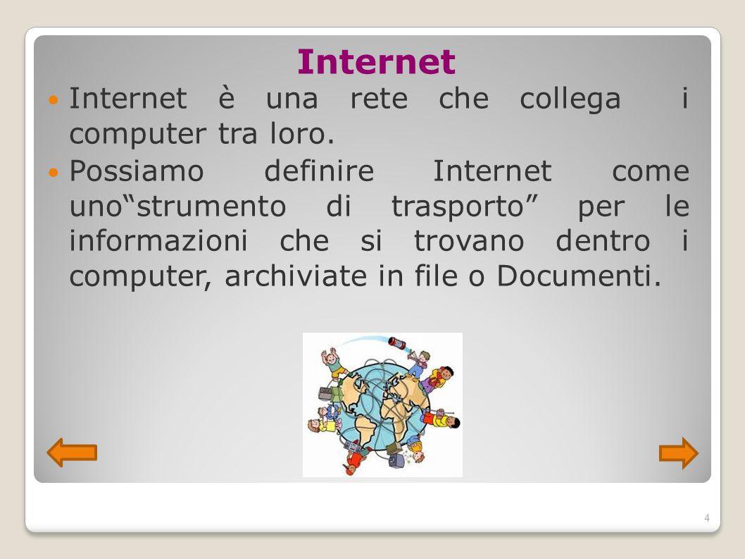 """Internet Internet è una rete che collega i computer tra loro. Possiamo definire Internet come uno""""strumento di trasporto"""" per le informazioni che si t"""