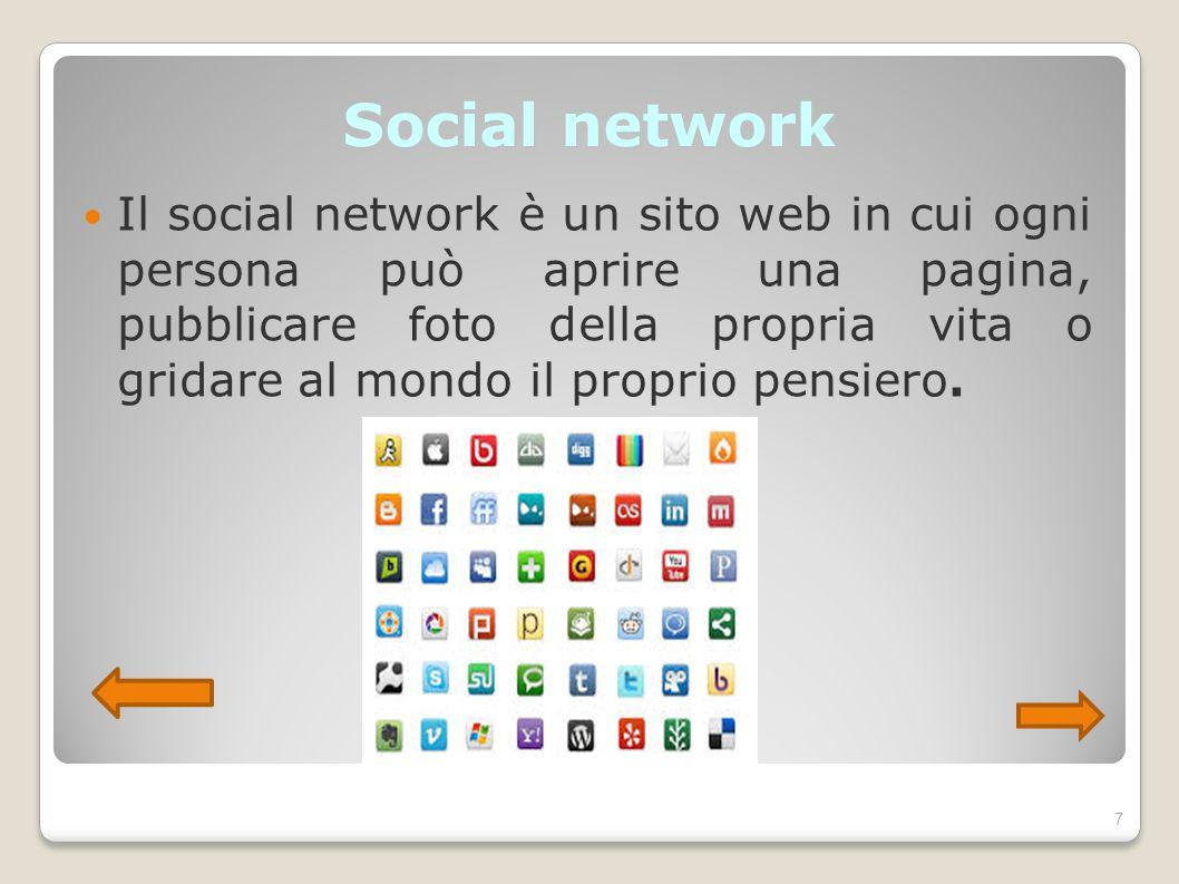 Social network Il social network è un sito web in cui ogni persona può aprire una pagina, pubblicare foto della propria vita o gridare al mondo il pro