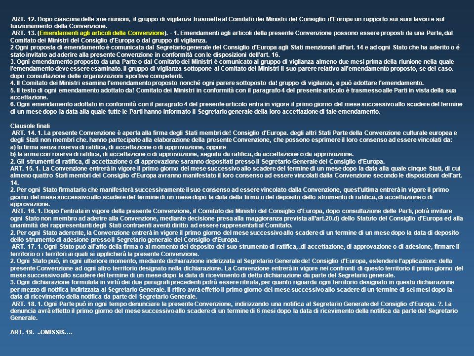 ART. 12. Dopo ciascuna delle sue riunioni, il gruppo di vigilanza trasmette al Comitato dei Ministri del Consiglio d'Europa un rapporto sui suoi lavor
