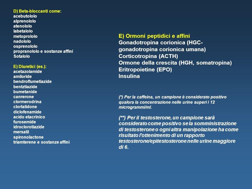 D) Beta-bloccanti come: acebutololo alprenololo atenololo labetalolo metoprololo nadololo osprenololo propranololo e sostanze affini Sotalolo E) Diure