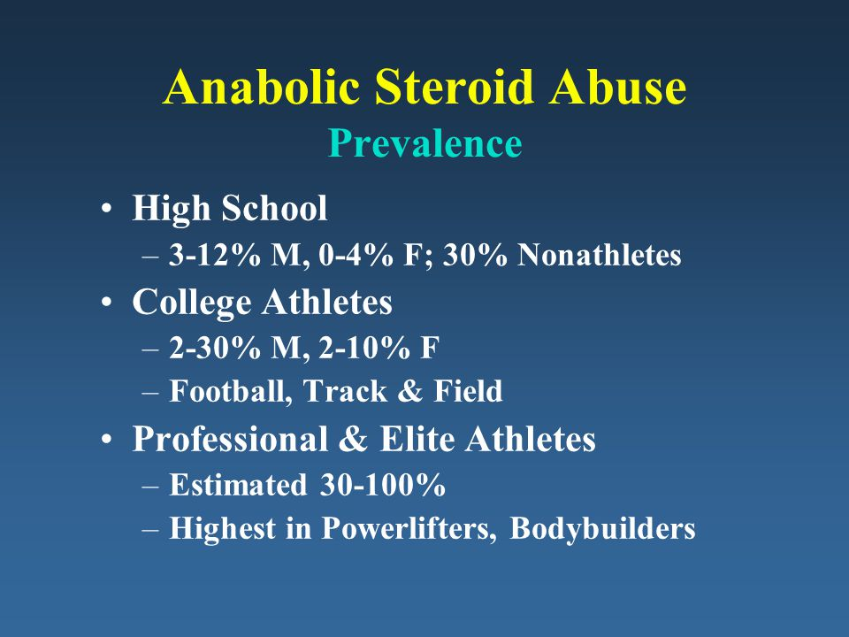 Anabolic Steroid Abuse Prevalence High School –3-12% M, 0-4% F; 30% Nonathletes College Athletes –2-30% M, 2-10% F –Football, Track & Field Professional & Elite Athletes –Estimated 30-100% –Highest in Powerlifters, Bodybuilders