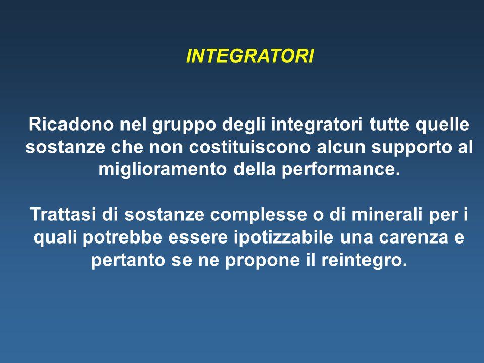 INTEGRATORI Ricadono nel gruppo degli integratori tutte quelle sostanze che non costituiscono alcun supporto al miglioramento della performance. Tratt
