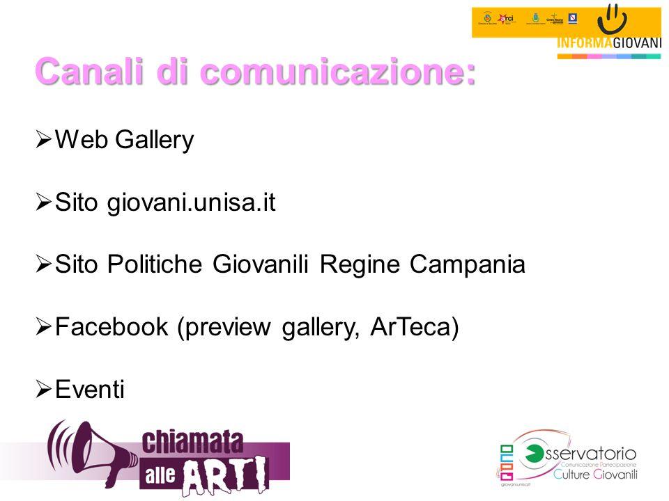 Canali di comunicazione:  Web Gallery  Sito giovani.unisa.it  Sito Politiche Giovanili Regine Campania  Facebook (preview gallery, ArTeca)  Event