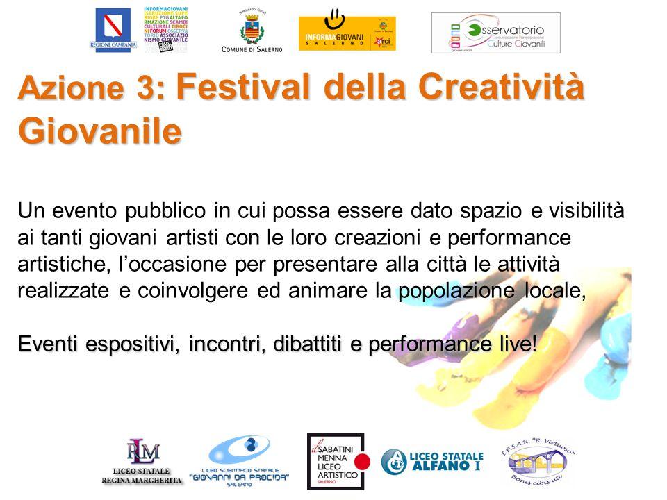 Azione 3: Festival della Creatività Giovanile Un evento pubblico in cui possa essere dato spazio e visibilità ai tanti giovani artisti con le loro cre