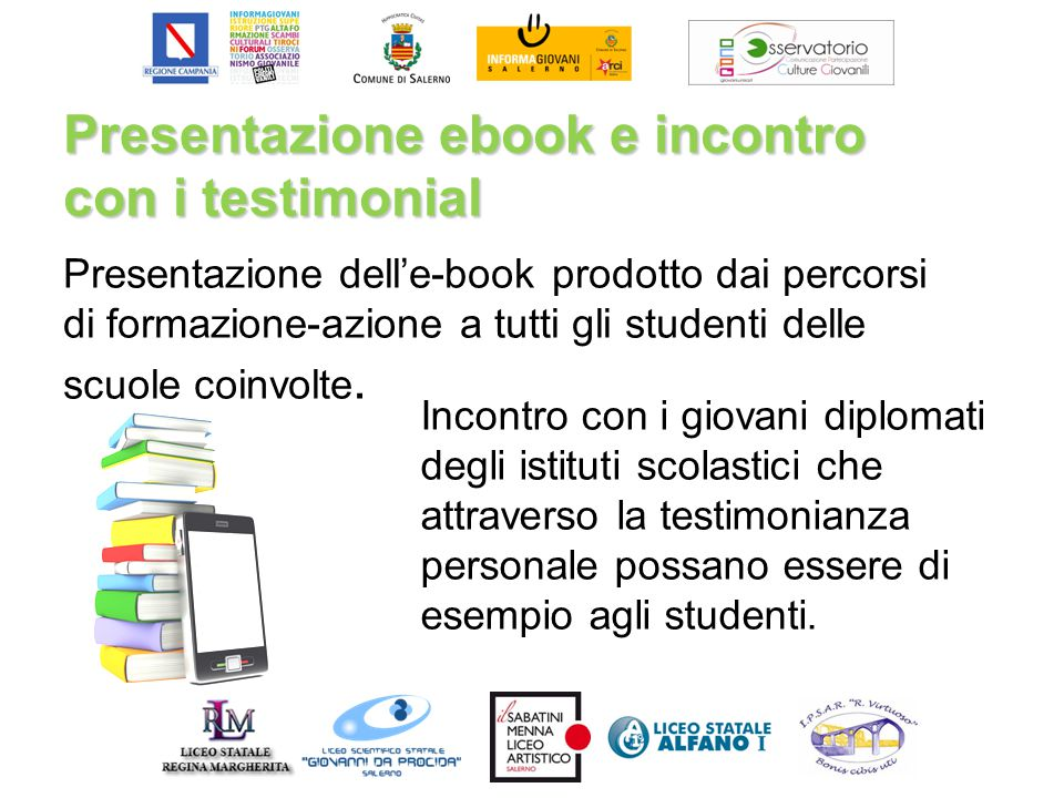 Presentazione ebook e incontro con i testimonial Presentazione dell'e-book prodotto dai percorsi di formazione-azione a tutti gli studenti delle scuole coinvolte.