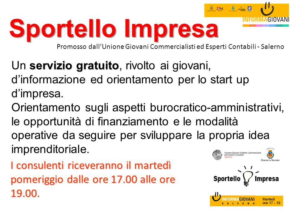 Sportello Impresa servizio gratuito Un servizio gratuito, rivolto ai giovani, d'informazione ed orientamento per lo start up d'impresa. Orientamento s