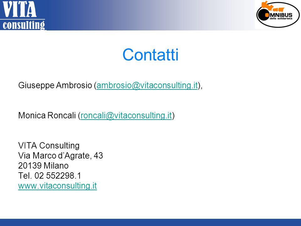 Contatti Giuseppe Ambrosio (ambrosio@vitaconsulting.it),ambrosio@vitaconsulting.it Monica Roncali (roncali@vitaconsulting.it)roncali@vitaconsulting.it VITA Consulting Via Marco d'Agrate, 43 20139 Milano Tel.