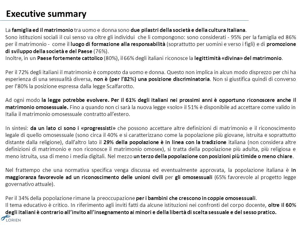 Executive summary La famiglia ed il matrimonio tra uomo e donna sono due pilastri della società e della cultura Italiana.