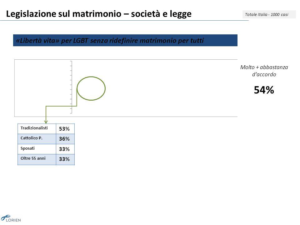 Legislazione sul matrimonio – società e legge «Libertà vita» per LGBT senza ridefinire matrimonio per tutti Totale Italia - 1000 casi Tradizionalisti 53% Cattolico P.