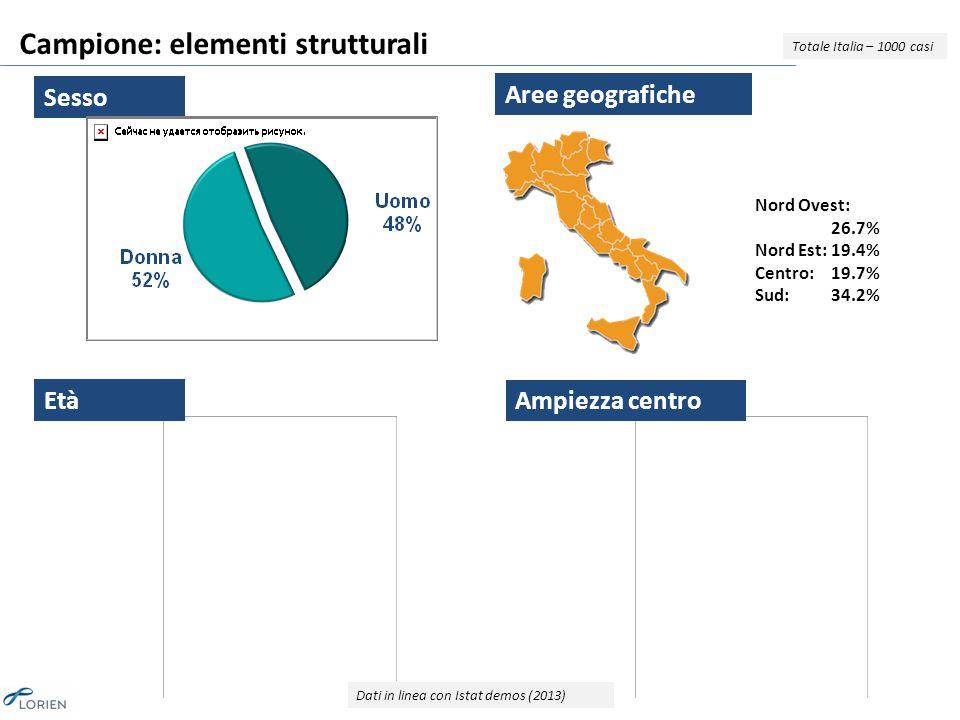 Campione: elementi strutturali Totale Italia – 1000 casi Nord Ovest: 26.7% Nord Est:19.4% Centro:19.7% Sud:34.2% Sesso Età Aree geografiche Ampiezza centro Dati in linea con Istat demos (2013)