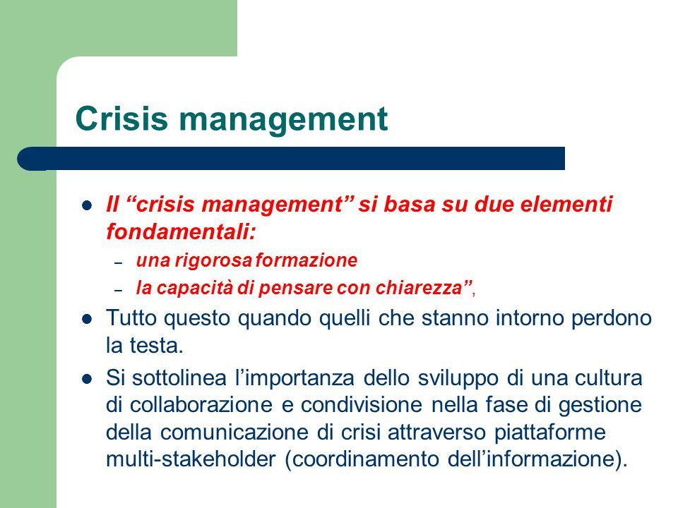 """Crisis management Il """"crisis management"""" si basa su due elementi fondamentali: – una rigorosa formazione – la capacità di pensare con chiarezza"""", Tutt"""