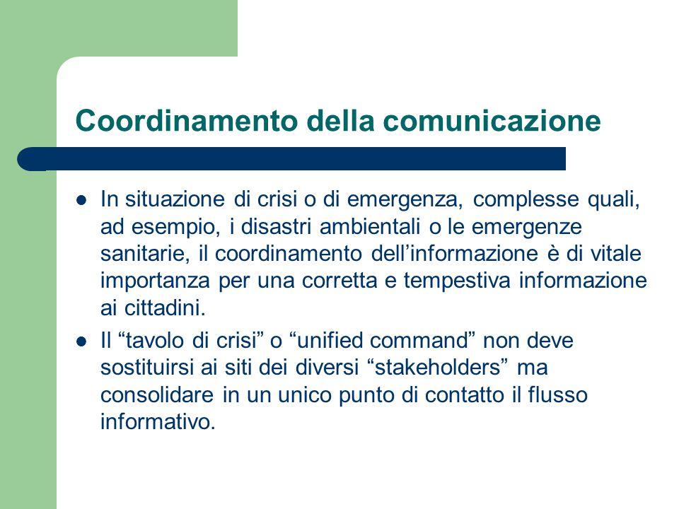 Coordinamento della comunicazione In situazione di crisi o di emergenza, complesse quali, ad esempio, i disastri ambientali o le emergenze sanitarie,
