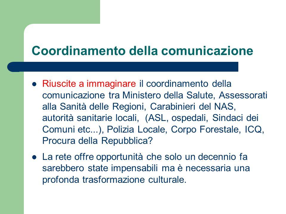 Coordinamento della comunicazione Riuscite a immaginare il coordinamento della comunicazione tra Ministero della Salute, Assessorati alla Sanità delle