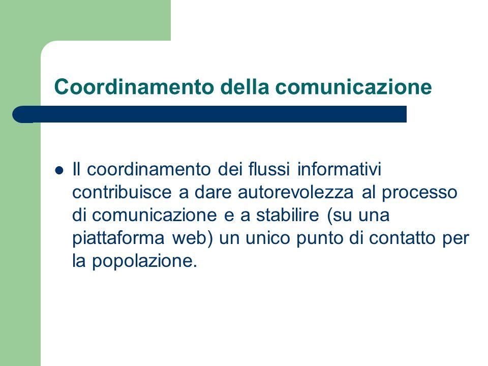 Coordinamento della comunicazione Il coordinamento dei flussi informativi contribuisce a dare autorevolezza al processo di comunicazione e a stabilire