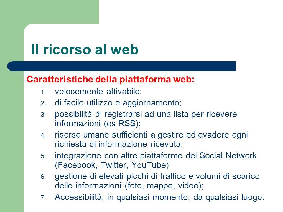 Il ricorso al web Caratteristiche della piattaforma web: 1. velocemente attivabile; 2. di facile utilizzo e aggiornamento; 3. possibilità di registrar