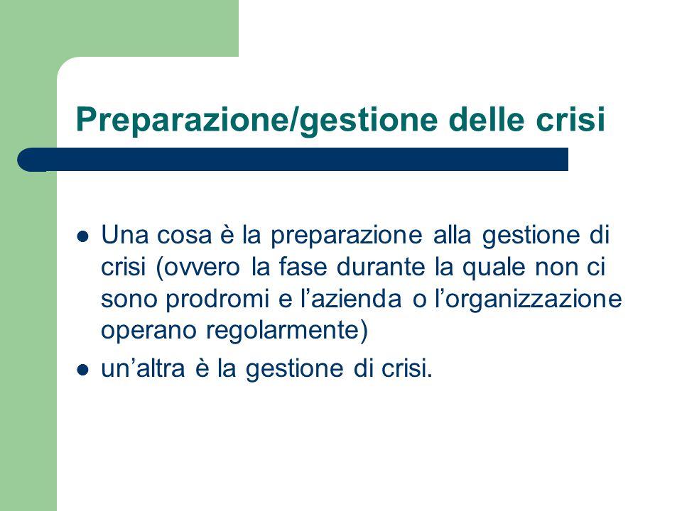 Preparazione/gestione delle crisi Una cosa è la preparazione alla gestione di crisi (ovvero la fase durante la quale non ci sono prodromi e l'azienda