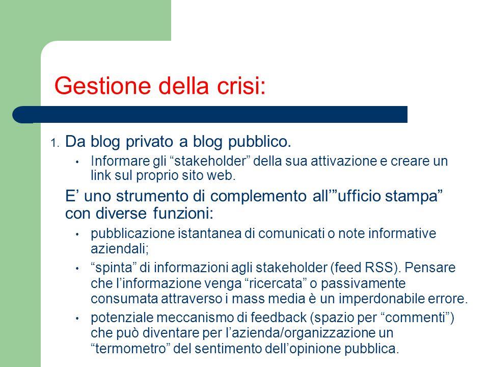 """Gestione della crisi: 1. Da blog privato a blog pubblico. Informare gli """"stakeholder"""" della sua attivazione e creare un link sul proprio sito web. E'"""