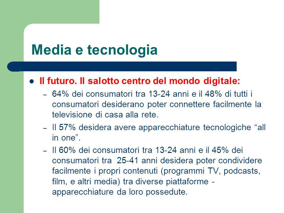 Media e tecnologia Il futuro. Il salotto centro del mondo digitale: – 64% dei consumatori tra 13-24 anni e il 48% di tutti i consumatori desiderano po
