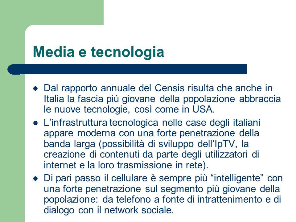 Media e tecnologia Dal rapporto annuale del Censis risulta che anche in Italia la fascia più giovane della popolazione abbraccia le nuove tecnologie,