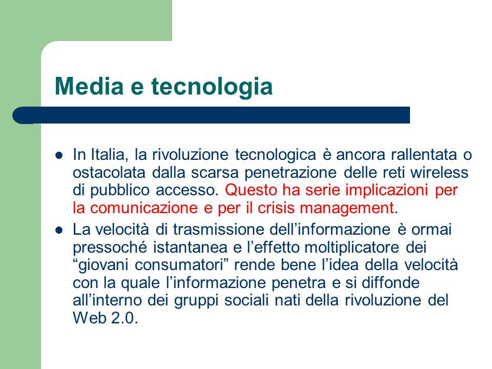 Media e tecnologia In Italia, la rivoluzione tecnologica è ancora rallentata o ostacolata dalla scarsa penetrazione delle reti wireless di pubblico ac