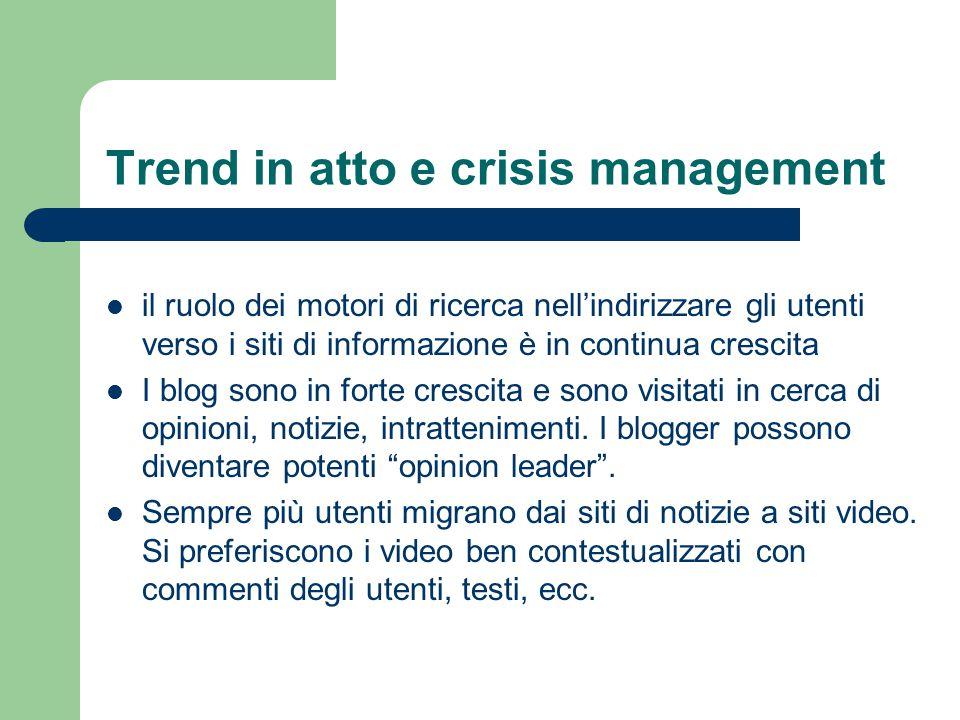 Trend in atto e crisis management il ruolo dei motori di ricerca nell'indirizzare gli utenti verso i siti di informazione è in continua crescita I blo