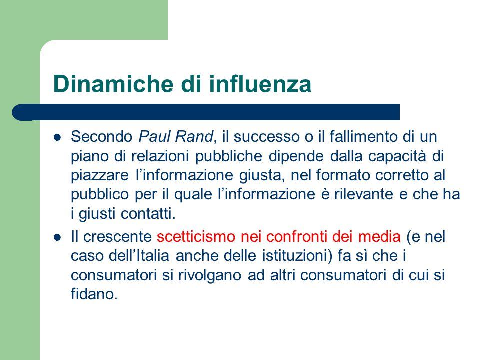 Dinamiche di influenza Secondo Paul Rand, il successo o il fallimento di un piano di relazioni pubbliche dipende dalla capacità di piazzare l'informaz