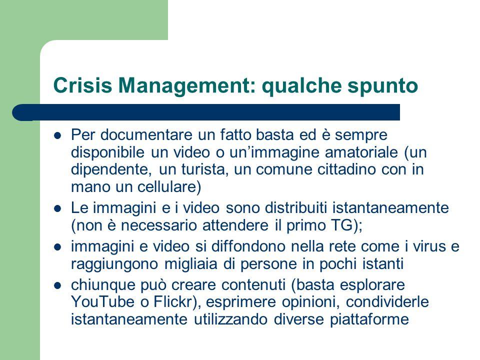 Crisis Management: qualche spunto Per documentare un fatto basta ed è sempre disponibile un video o un'immagine amatoriale (un dipendente, un turista,