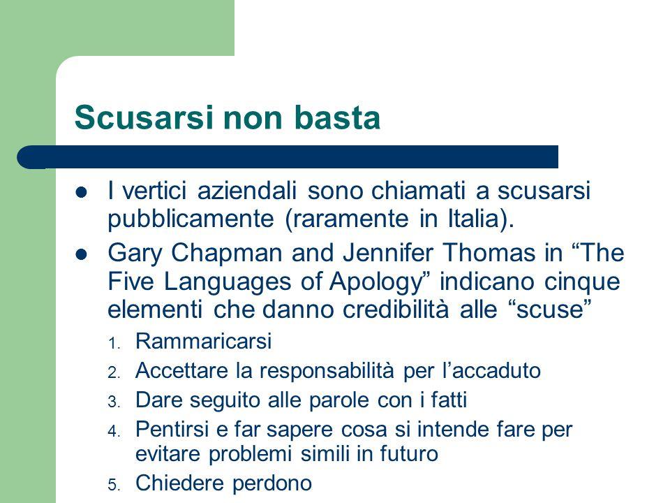 """Scusarsi non basta I vertici aziendali sono chiamati a scusarsi pubblicamente (raramente in Italia). Gary Chapman and Jennifer Thomas in """"The Five Lan"""