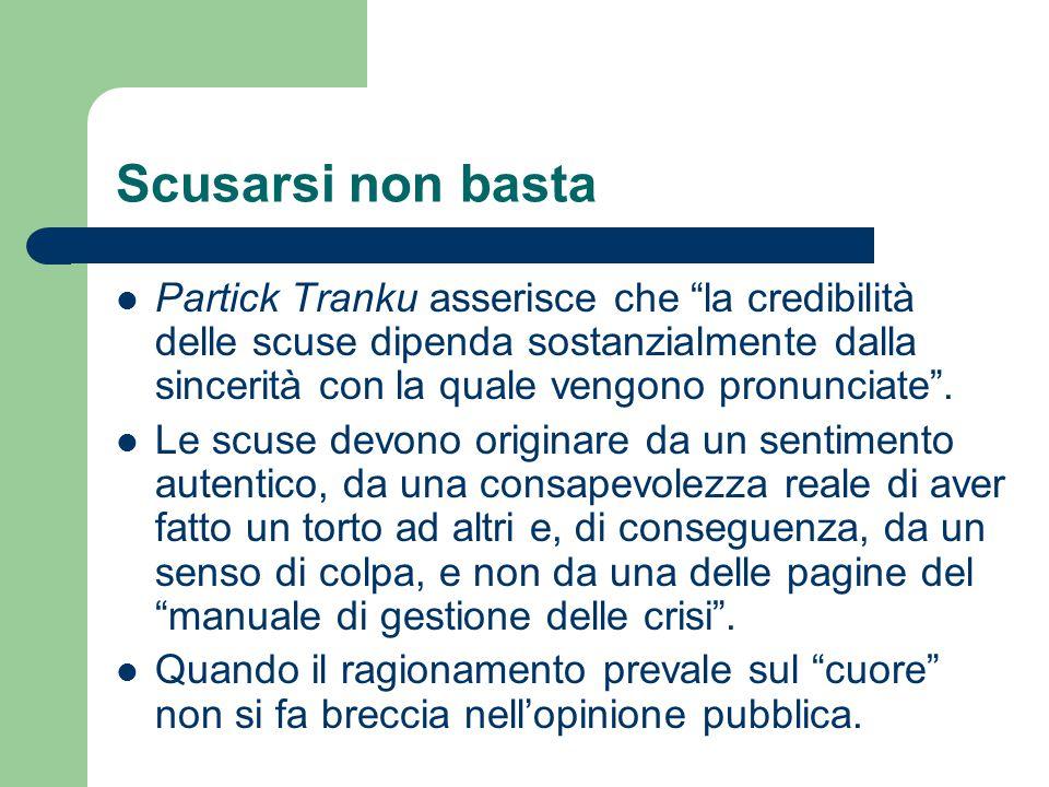 """Scusarsi non basta Partick Tranku asserisce che """"la credibilità delle scuse dipenda sostanzialmente dalla sincerità con la quale vengono pronunciate""""."""