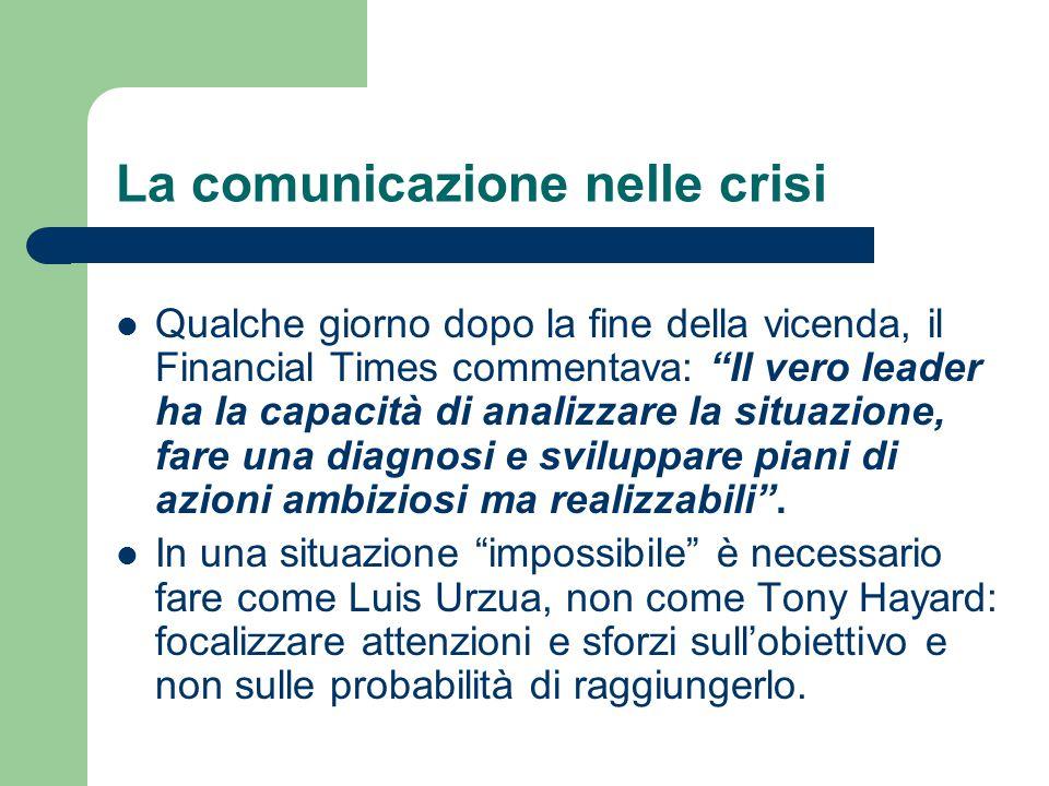 """La comunicazione nelle crisi Qualche giorno dopo la fine della vicenda, il Financial Times commentava: """"Il vero leader ha la capacità di analizzare la"""