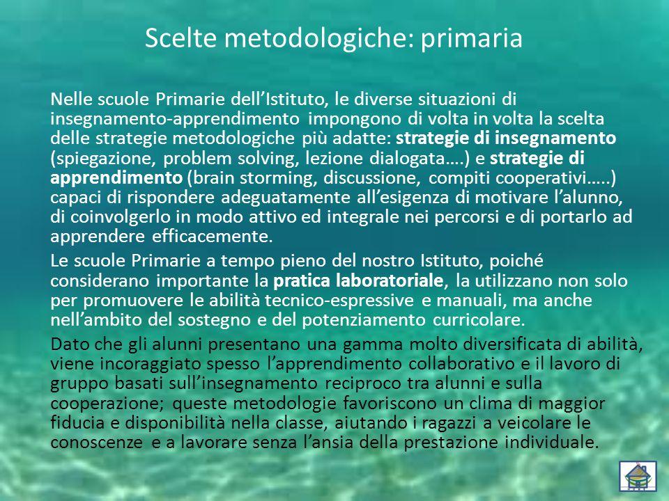 Scelte metodologiche: primaria Nelle scuole Primarie dell'Istituto, le diverse situazioni di insegnamento-apprendimento impongono di volta in volta la