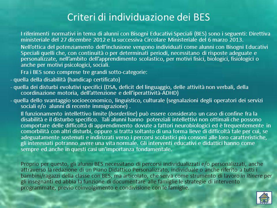 Criteri di individuazione dei BES I riferimenti normativi in tema di alunni con Bisogni Educativi Speciali (BES) sono i seguenti: Direttiva ministeriale del 27 dicembre 2012 e la successiva Circolare Ministeriale del 6 marzo 2013.