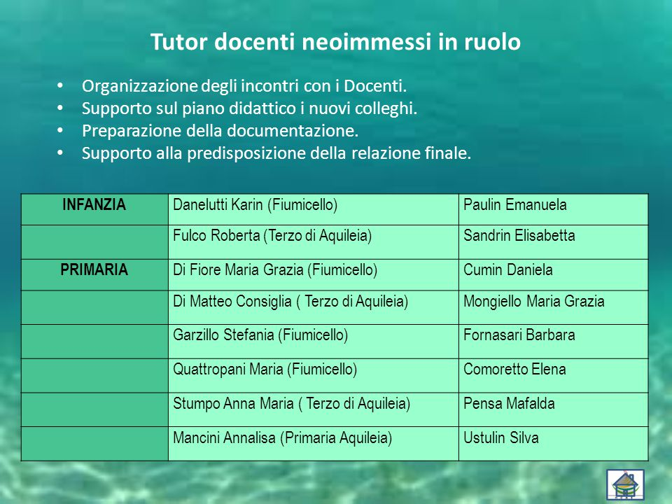 Tutor docenti neoimmessi in ruolo Organizzazione degli incontri con i Docenti.