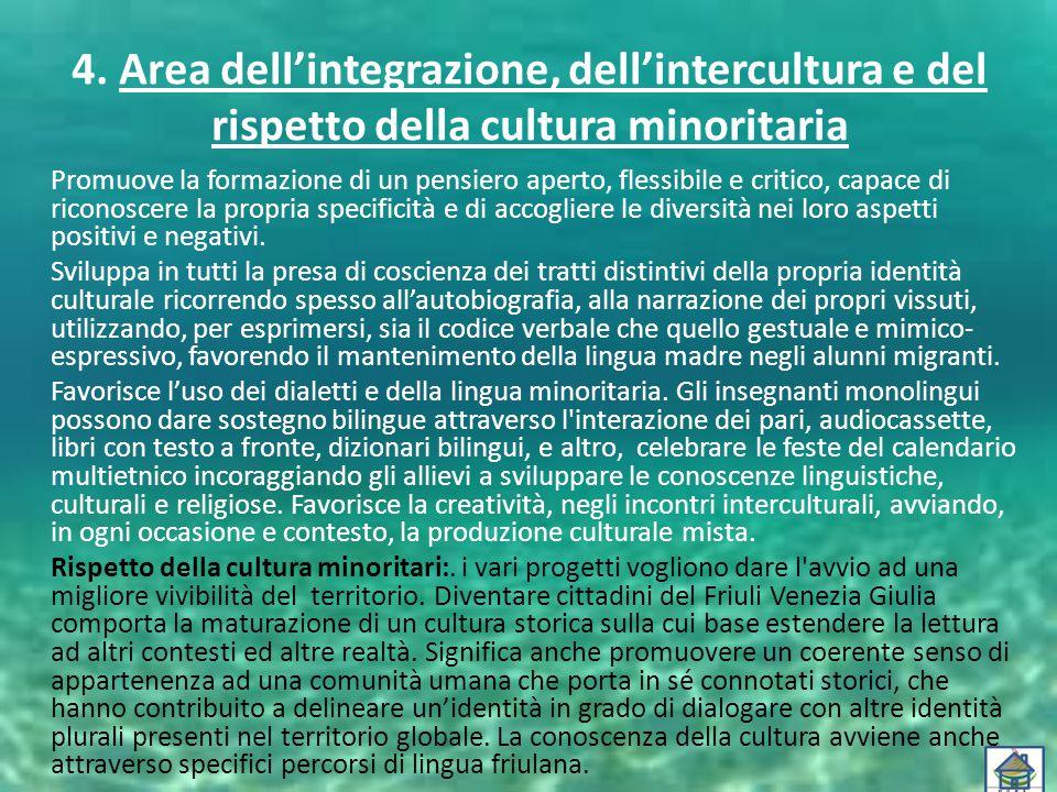 4. Area dell'integrazione, dell'intercultura e del rispetto della cultura minoritaria Promuove la formazione di un pensiero aperto, flessibile e criti