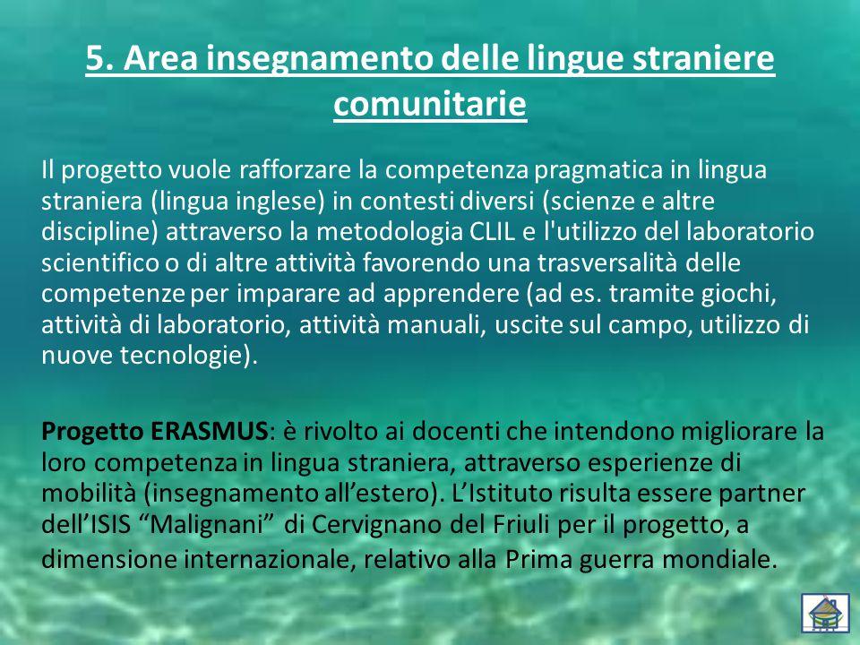 5. Area insegnamento delle lingue straniere comunitarie Il progetto vuole rafforzare la competenza pragmatica in lingua straniera (lingua inglese) in