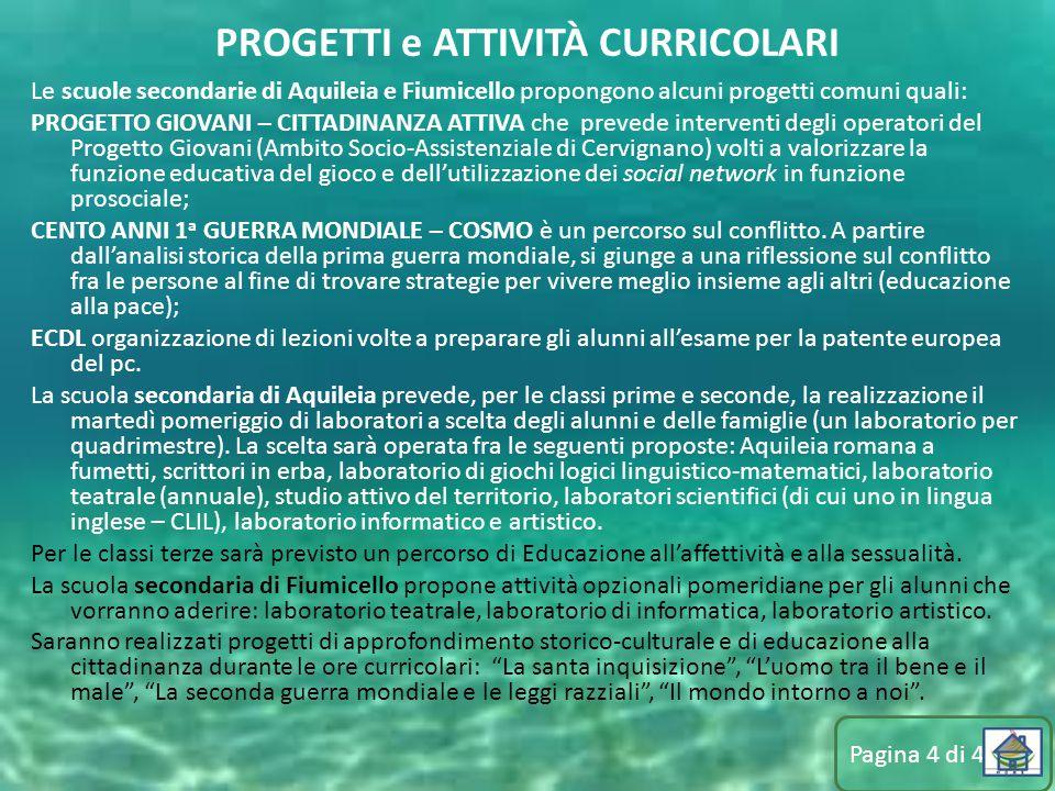 Le scuole secondarie di Aquileia e Fiumicello propongono alcuni progetti comuni quali: PROGETTO GIOVANI – CITTADINANZA ATTIVA che prevede interventi d
