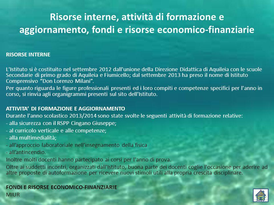 Risorse interne, attività di formazione e aggiornamento, fondi e risorse economico-finanziarie RISORSE INTERNE L'Istituto si è costituito nel settembr