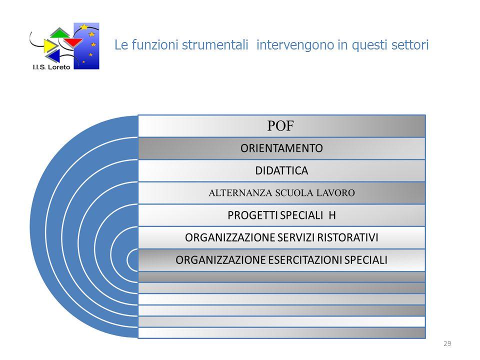 Le funzioni strumentali intervengono in questi settori 29