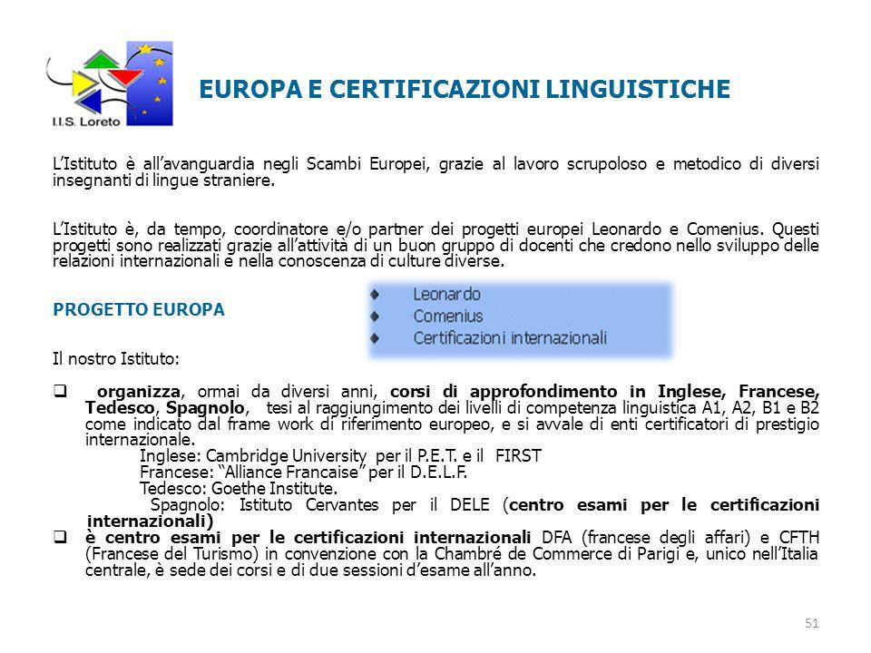 EUROPA E CERTIFICAZIONI LINGUISTICHE L'Istituto è all'avanguardia negli Scambi Europei, grazie al lavoro scrupoloso e metodico di diversi insegnanti di lingue straniere.