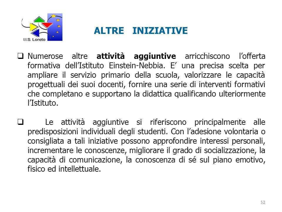 ALTRE INIZIATIVE  Numerose altre attività aggiuntive arricchiscono l'offerta formativa dell'Istituto Einstein-Nebbia.