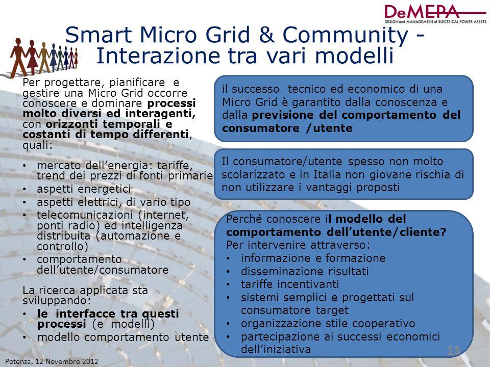 Smart Micro Grid & Community - Interazione tra vari modelli Per progettare, pianificare e gestire una Micro Grid occorre conoscere e dominare processi